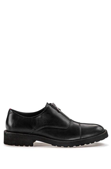 Schuhe zum Hineinschlüpfen aus Leder mit Reißverschluss-Details, Schwarz
