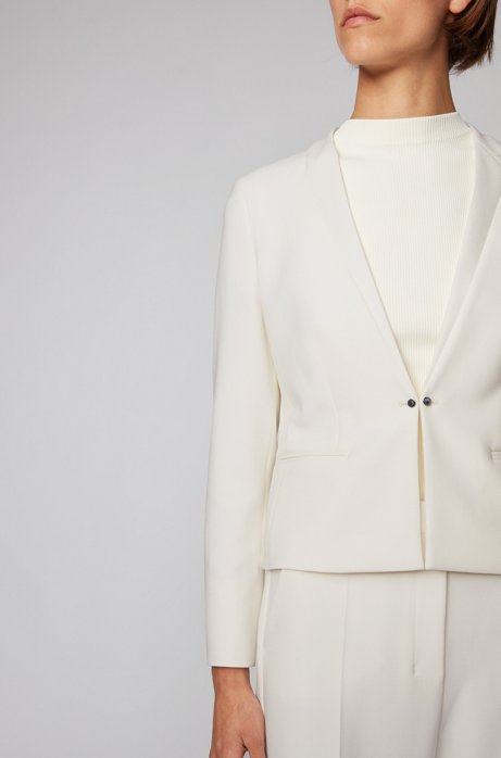 Regular-fit jacket with cufflink-style front closure, White