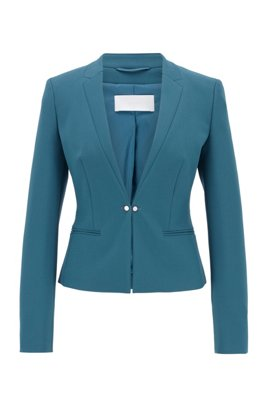 Regular-fit jacket with cufflink-style front closure, Dark Blue