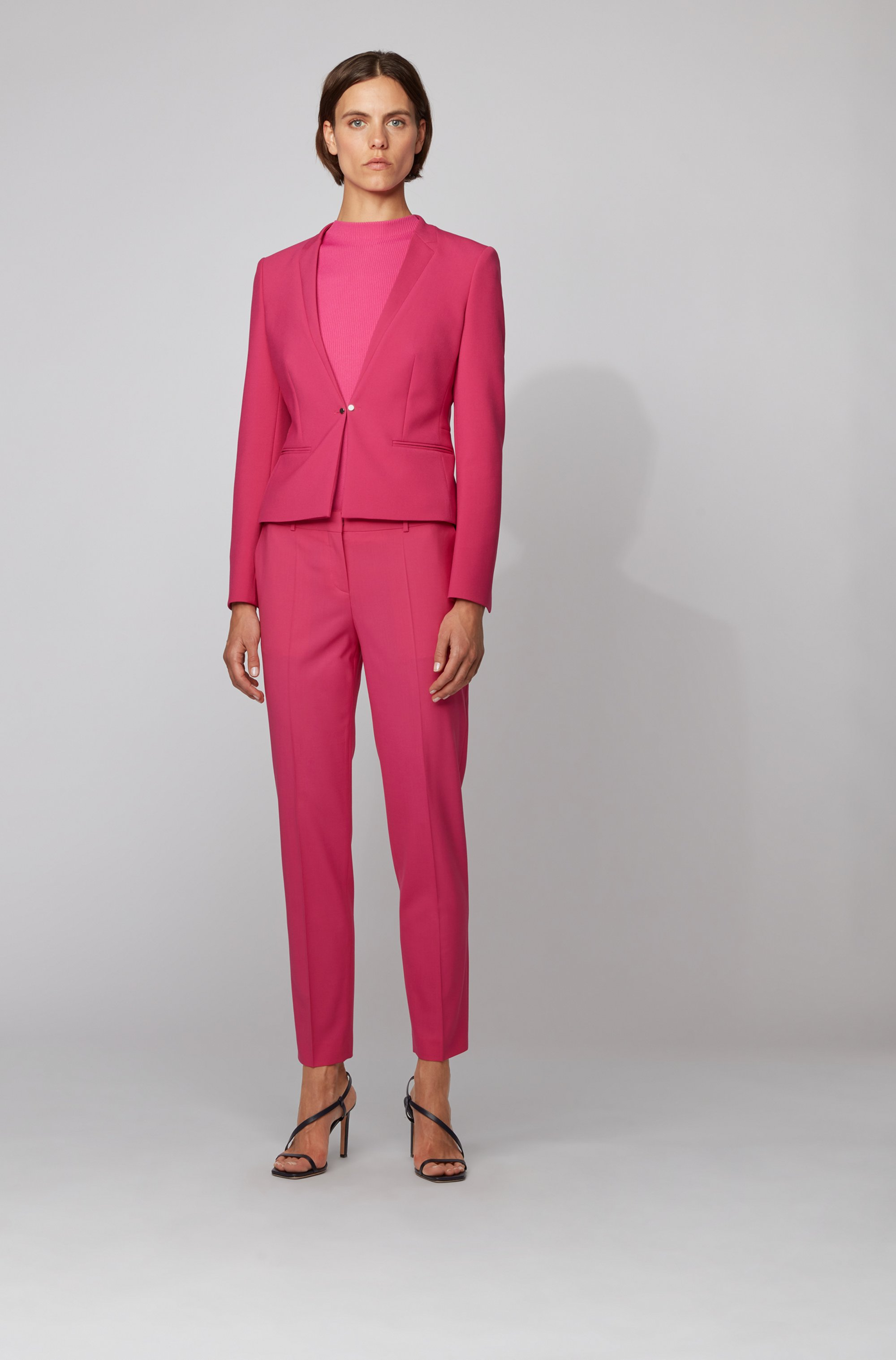 Regular-fit jacket with cufflink-style front closure