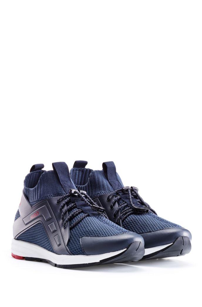Sneakers ibride con logo e calza in maglia