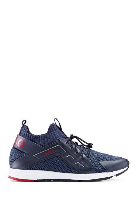 Sneakers ibride con logo e calza in maglia, Blu scuro