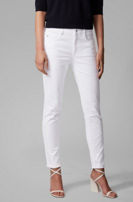 Tapered-leg cropped jeans in overdyed stretch denim, White