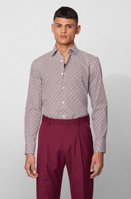 Slim-fit overhemd van katoen met meerkleurige print, Lila