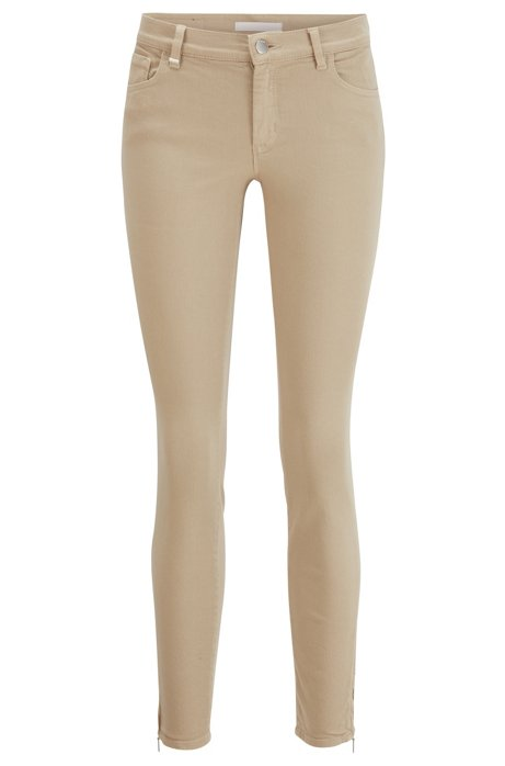Skinny-fit cropped jeans with zipped hems, Beige