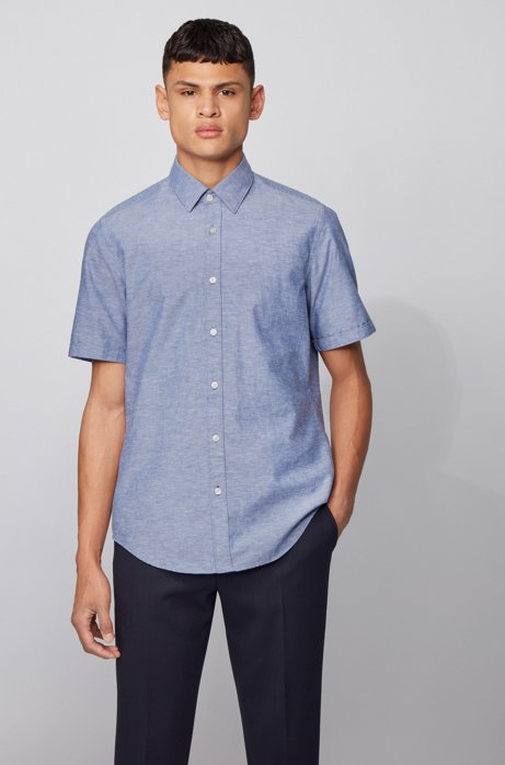 Camicia regular fit in cotone e lino, Blu scuro