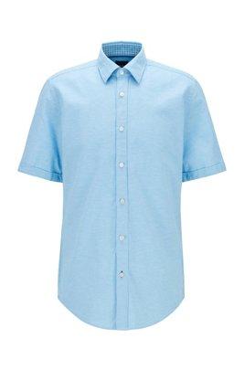 Regular-Fit Hemd aus Baumwolle und Leinen, Türkis