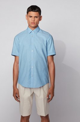 Regular-fit shirt in cotton and linen, Turquoise