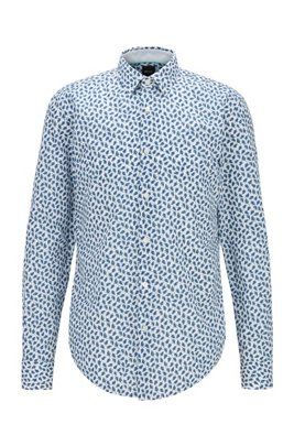 Slim-fit leaf-print shirt in cotton and linen, Light Green