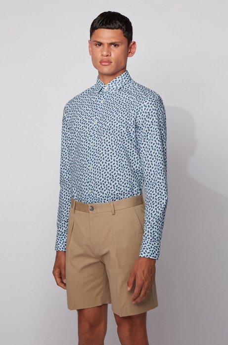Slim-fit overhemd van katoen en linnen met bladprint, Kalk