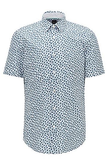 树叶印花棉加亚麻混纺修身衬衫,  352_淡绿色