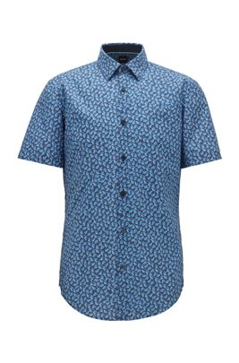 Chemise Slim Fit en lin et en coton à imprimé feuilles, Bleu foncé