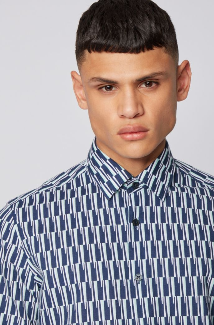 Regular-fit shirt in printed cotton and linen