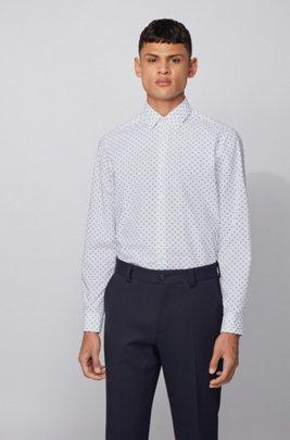 Regular-Fit Hemd aus bedrucktem Baumwoll-Voile, Dunkelblau