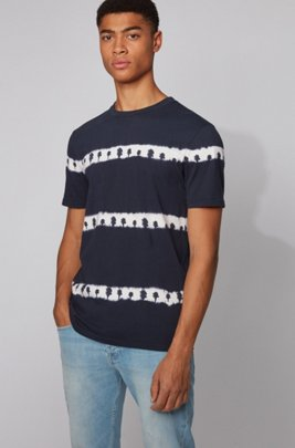 Fully recyclable T-shirt with tie-dye palm-tree print, Dark Blue