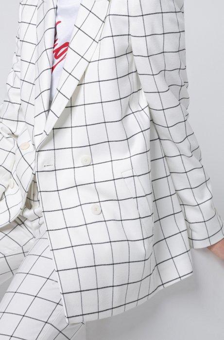 Relaxed-fit double-breasted jasje met U-Bahn-geïnspireerde ruiten, Wit