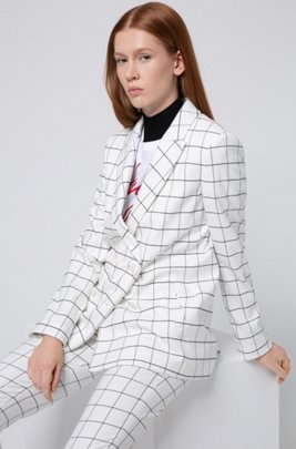 Relaxed-fit double-breasted jacket in a plain check, White