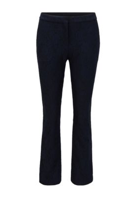 Regular-fit cropped trousers in floral lace, Light Blue