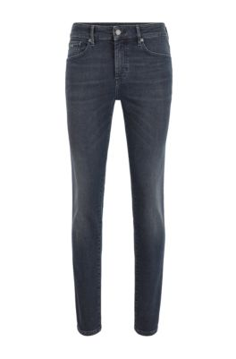 Skinny-fit jeans in dip-dyed super-stretch denim, Dark Grey