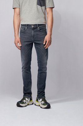 Skinny-fit jeans in dip-dyed super-stretch denim, ダークグレー