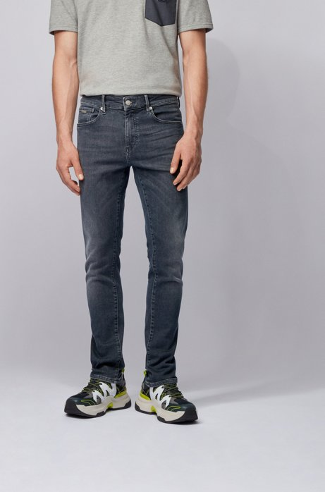 Jean Skinny Fit en denim stretch effet dip-dye, Gris sombre