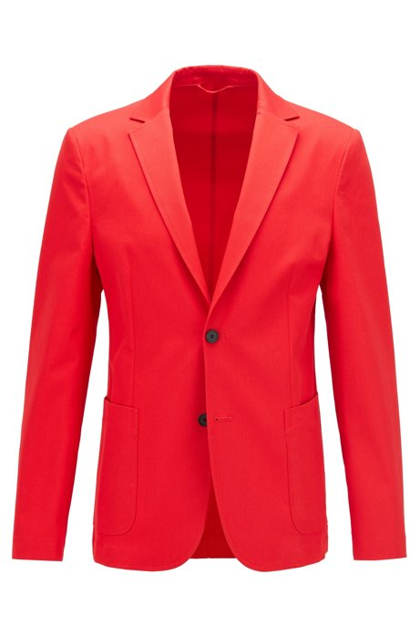 Slim-fit jacket in stretch cotton, Red
