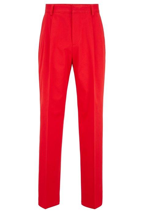 Relaxed-Fit Hose aus elastischer Baumwolle mit Falten, Rot