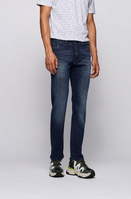 Jeans regular fit in denim super elasticizzato blu scuro, Blu scuro