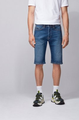 Tapered-fit short van indigo stretchdenim, Donkerblauw