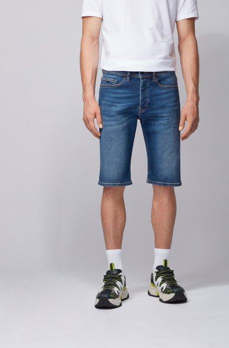 Tapered-fit short van indigo stretchdenim, Donkerblauw