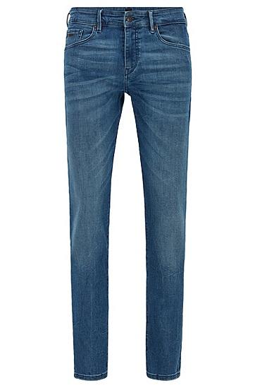 大理石纹弹力紧身牛仔裤,  449_水蓝色