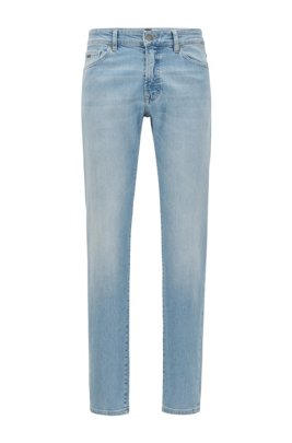 Regular-fit jeans in bleach-washed slub stretch denim, Light Blue