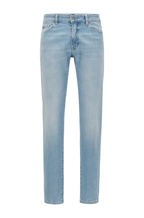 Regular-Fit Jeans aus gebleichtem Stretch-Denim mit Struktur, Hellblau