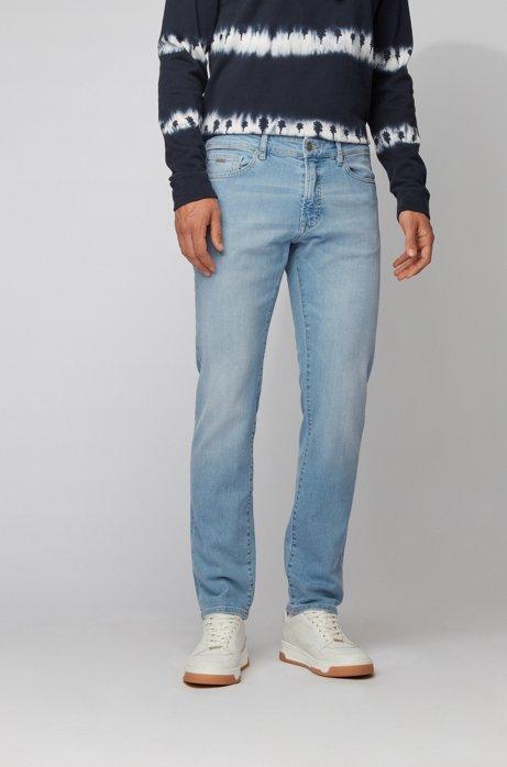 Jeans regular fit in denim elasticizzato slub-yarn con trattamento di scoloritura, Celeste