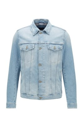 Regular-fit jacket in slub-cotton stretch denim, Light Blue
