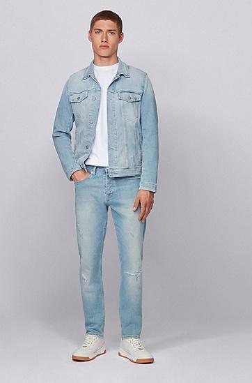竹节棉弹力牛仔布常规版型夹克,  452_浅蓝色