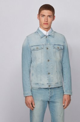 Regular-fit jacket in slub-cotton stretch denim, Light Blue