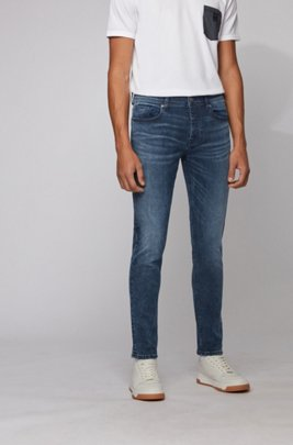Tapered-Fit Jeans aus gebleichtem Stretch-Denim, Türkis