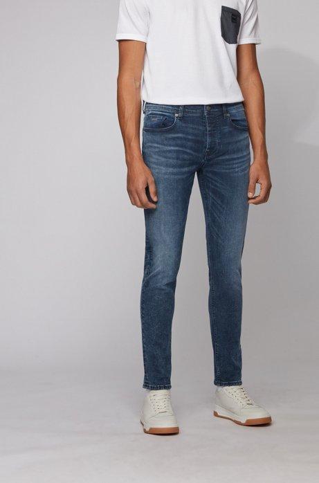 Tapered-fit jeans van gebleekt stretchdenim, Turkoois