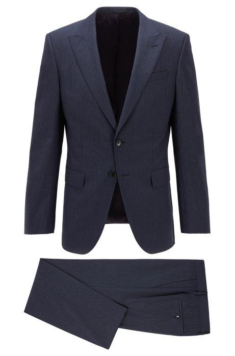 Traje slim fit de lana virgen jaspeada, Azul oscuro