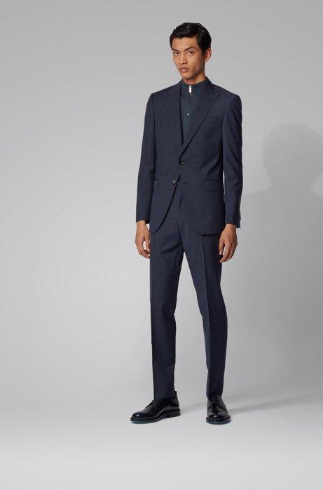 Slim-fit suit in melange virgin wool, Dark Blue