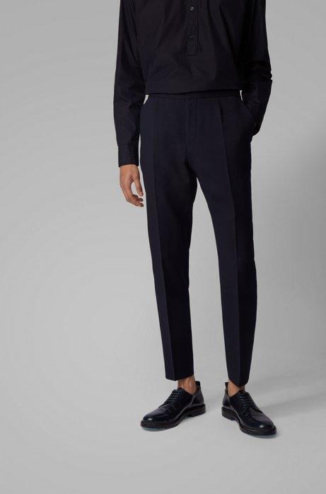 Slim-Fit Hose aus elastischem Seersucker-Gewebe, Dunkelblau