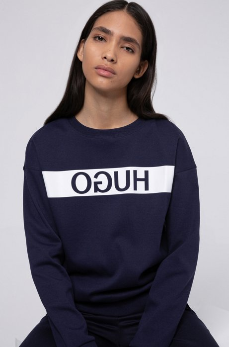 Relaxed-fit sweatshirt with reverse-logo print, Dark Blue