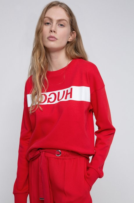 Relaxed-fit sweatshirt with reverse-logo print, Red