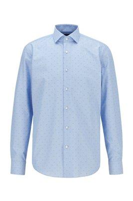 Chemise Regular Fit en coton infroissable à fil coupé, Bleu
