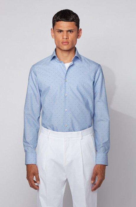 Regular-fit shirt in fil-coupé non-iron cotton, Blue