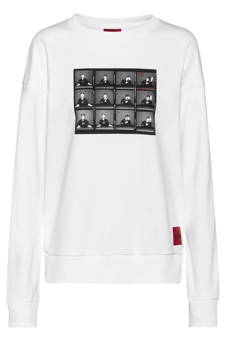 Cotton sweatshirt with collection-themed print, White