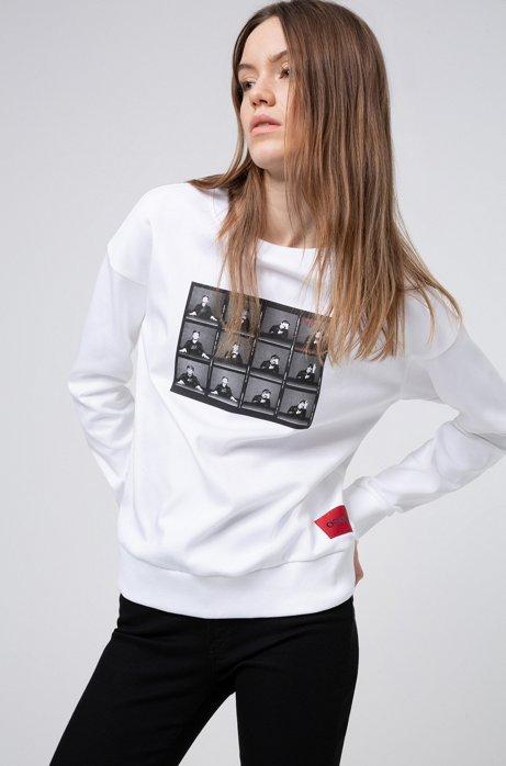 Sweatshirt aus Baumwolle mit Print aus der Kollektion, Weiß