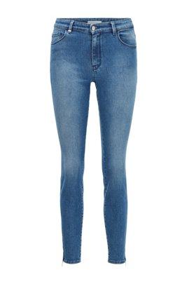 Jean Skinny Fit en denim stretch à fermetures éclair au bas des jambes, Bleu