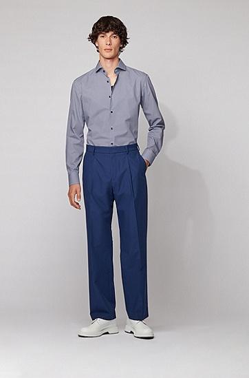 印花棉质修身衬衫,  494_淡蓝色